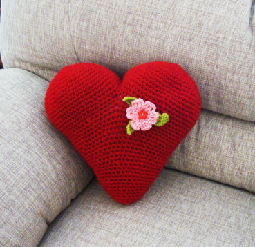 """I heart you"" cushion"